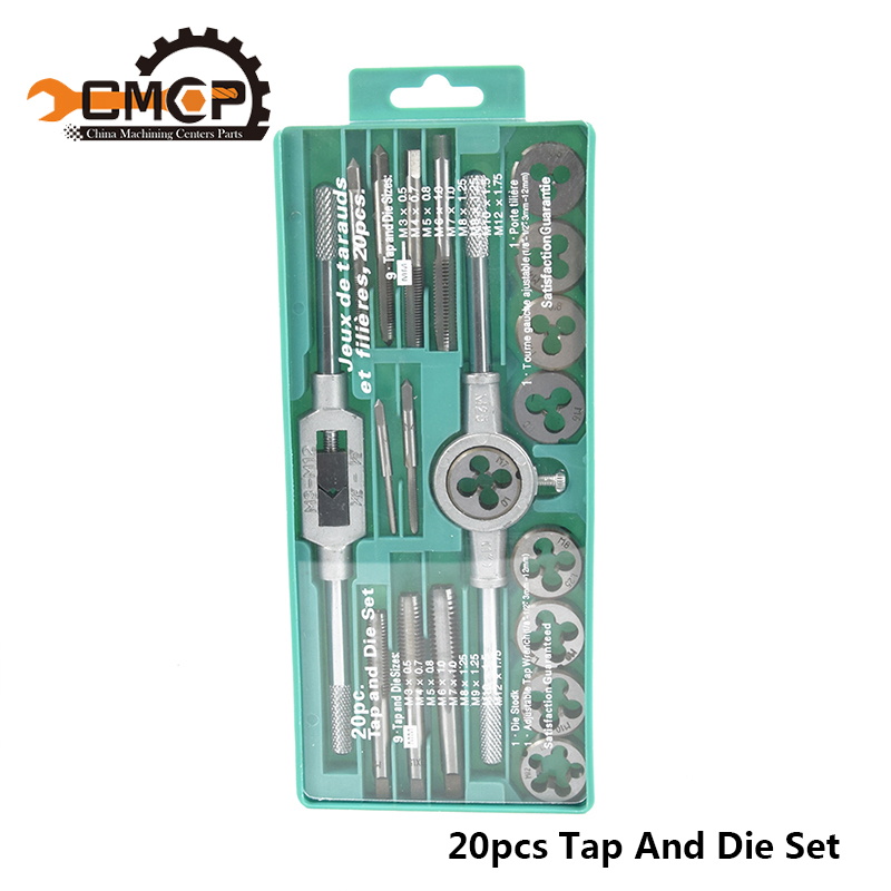 Hand Tools 20pcs High Quality Tap And Die Set Metric Thread Tap And Dies Adjustable Tap Wrench 1/8-1/2 3mm-12mm Screw Tap