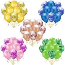 12-дюймовый прозрачный латексная Роза Золотая бумага лист шар золотой интернет-знаменитость конфетти блесток шар День рождения украшения