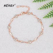 NEHZY-joyería de plata de ley 925 para mujer, joyería de moda de alta calidad, flor Simple Retro, bricolaje, pulsera de oro rosa dorado de 21CM de longitud