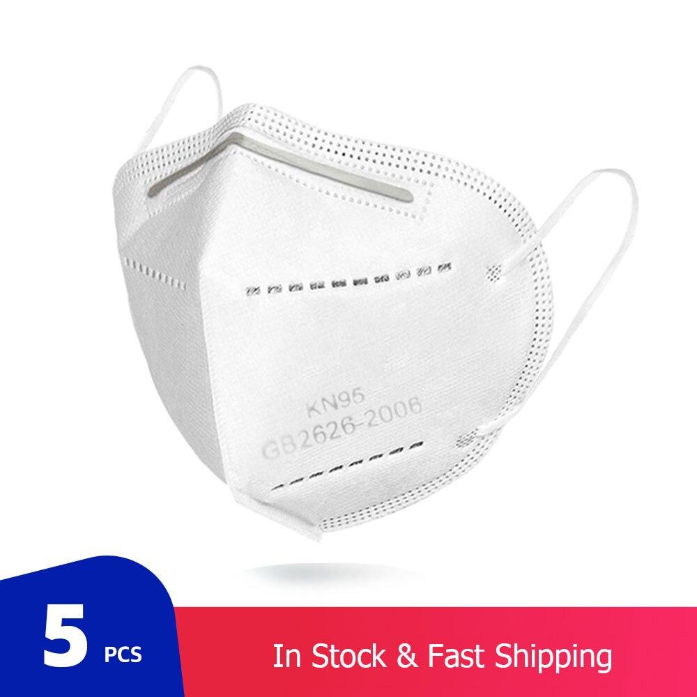 5 pçs/saco kn95 máscara protetora pm2.5 anti-nevoeiro forte respirador máscara de boca protetora reutilizável (não para uso médico) 1
