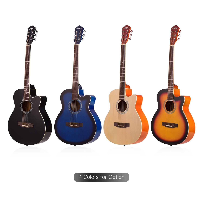 40 pouces coupé guitare Folk acoustique 6 cordes tilleul avec sangle Gig Bag Capo choisit guitare basse guitare acoustique guitare pour plein