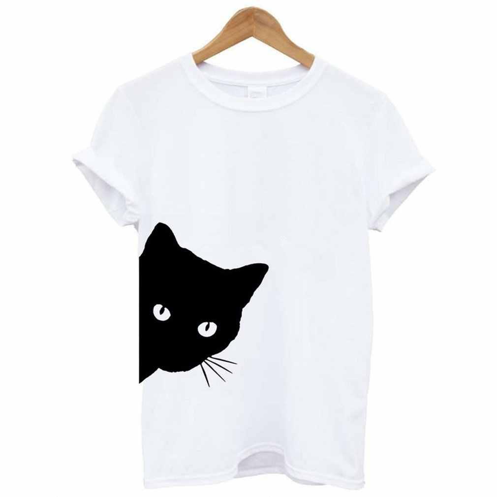 1 adet komik kedi kadın T-shirt pamuk Harajuku ince kısa kollu yaz gömlek seksi kore Lady kızlar Tee Tops 2018 yeni