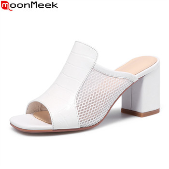 MoonMeek Women slippers 2020 new arrival high heels shoes genuine leather solid color women slippers summer white mules shoes