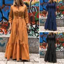 Zanzea женское длинное платье 2021 женские ретро вышивки бисером