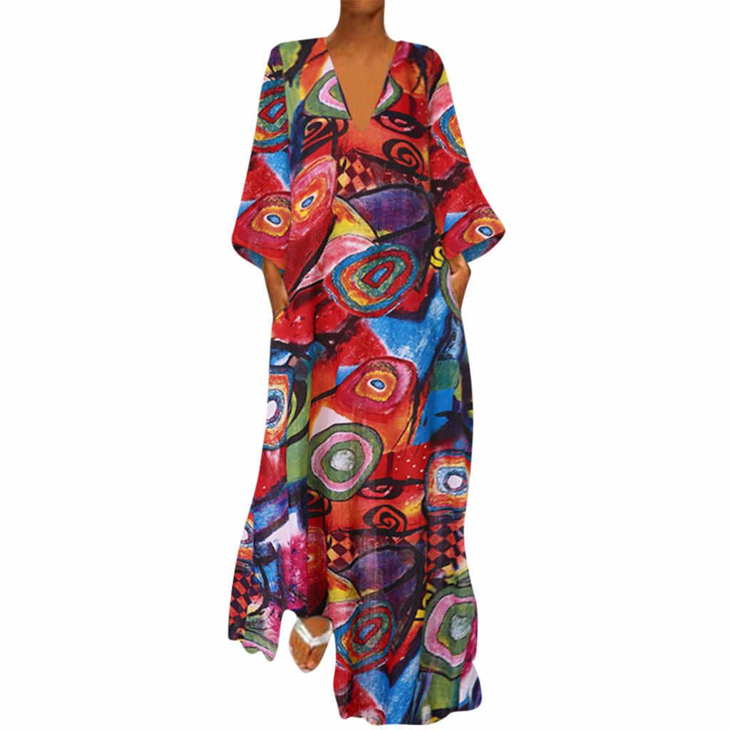 2019 nowy Plus rozmiar kobiety w stylu Vintage V Neck etniczne długie rękawy z nadrukiem maxi w stylu casual sukienka Vestidos jesień zima w stylu Vintage