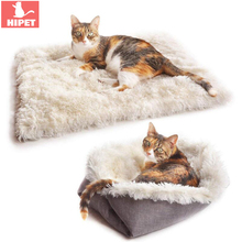 2 in 1 Dog Cat Mat Pet Blanket Long Plush Automn Winter Washable Bed Mattress For Small Dogs Warm Puppy Kitten Pad Cushion