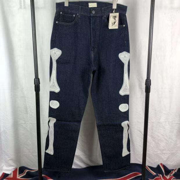 Kapital Knochen Stickerei Gedruckt Gerade Jeans Männer Frauen 1:1 hohe Qualität Art Und Weise Hosen Hip-Hop High Street Kapital Denim Hose