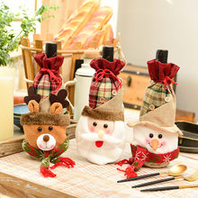 คริสต์มาสขวดไวน์ COVER Decor Home PARTY Xmas Elk Santa Claus Snowman Christmas ขวด Mesa posta HOTF913(China)