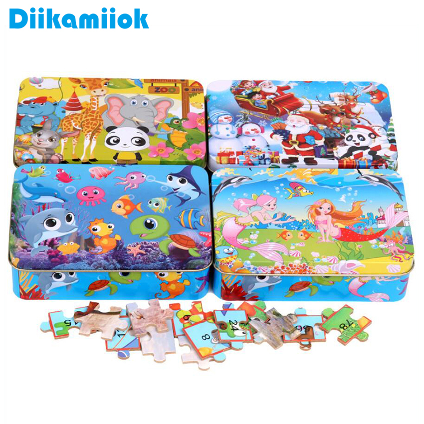 Sale 100 Piece Cartoon Iron Box Wooden Jigsaw Puzzle Toys Baby Early Educational Enlightenment Intelligence Puzzles For Kids