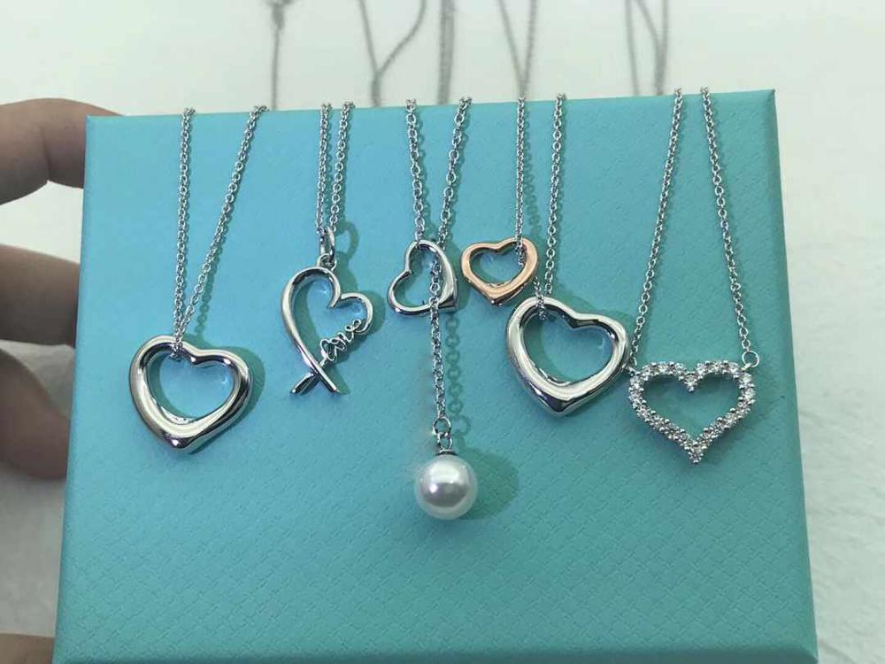 04 XL TFB TTFF Original 925 Sterling Silver Classic Love Double  Ring Shape Necklace Pendant Fashion Elegant Necklace Jewelry
