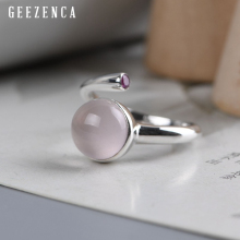 925 Sterling Silver Powder Crystal Ring Trendy Vintage Gemstone Rings Fine Jewelry For Women Party Gift Woman