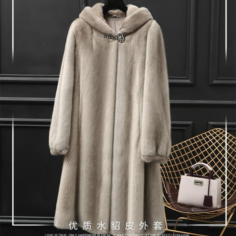 New Mink Coat Women's Long Fur Coat Neatly 2018 Winter Hooded Mother Color Suede Suede