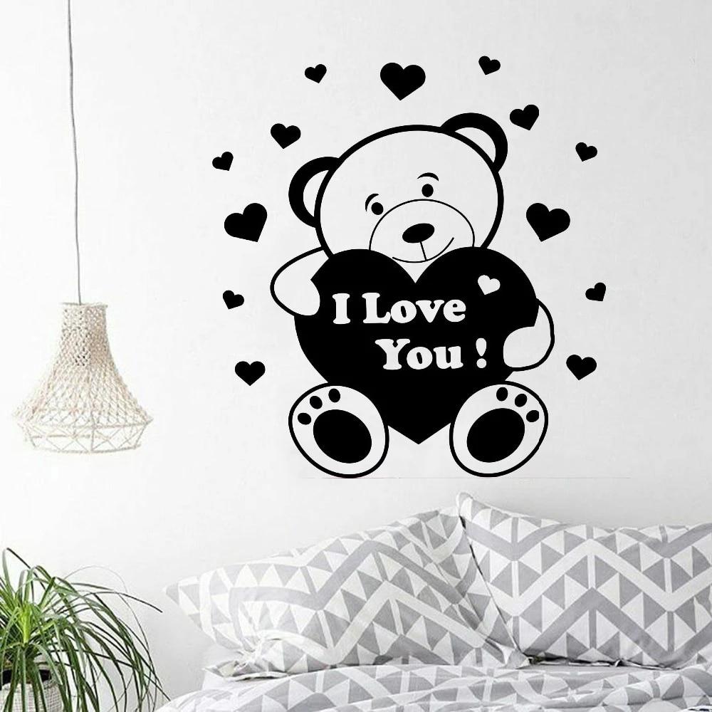 Little Bear Wall Decals Bedroom Romantic Decor Accessories Cartoon Pattern Vinyl Stickers Home Decoration Baby Room Z046 Aliexpress