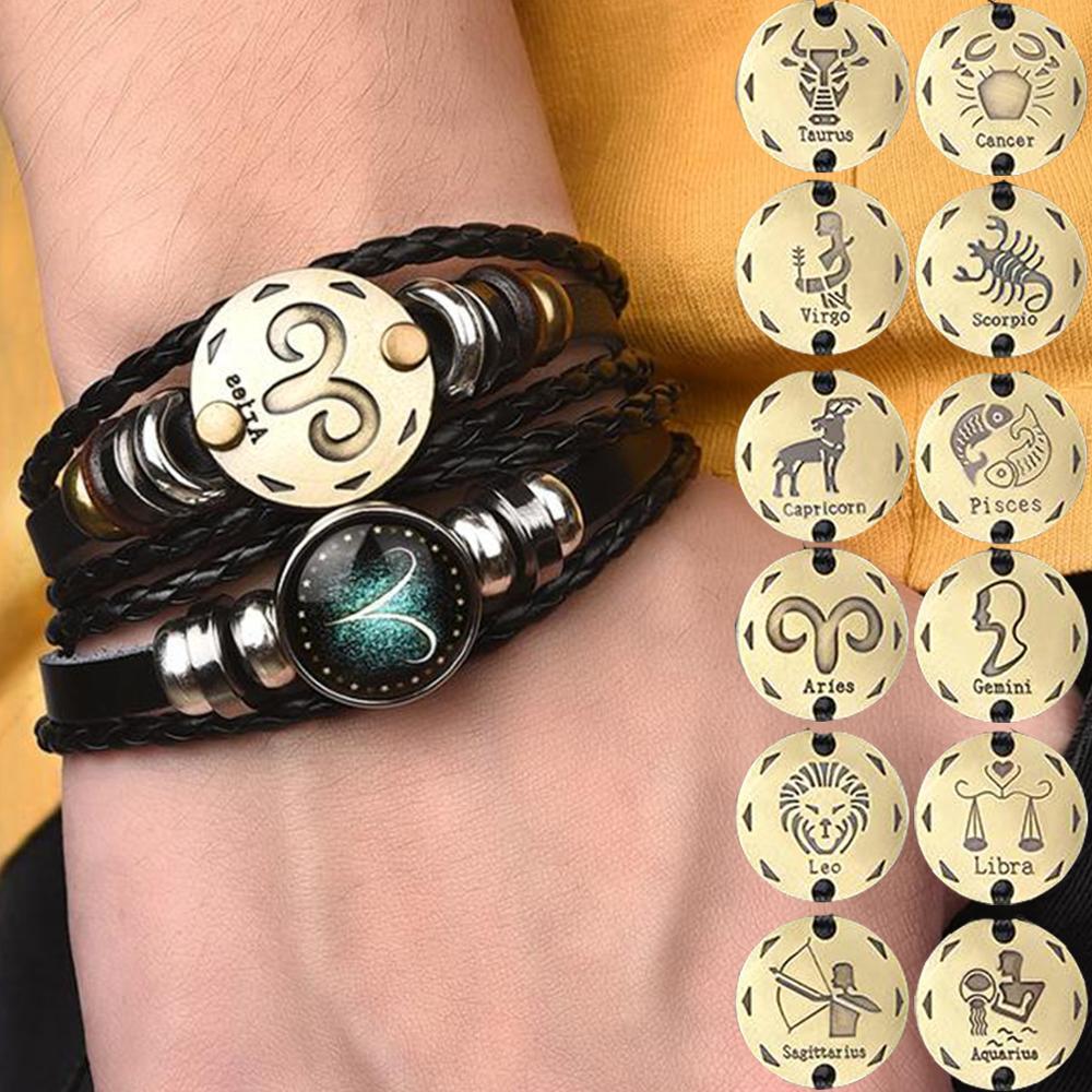 2pcs/set 12 Constellation Bracelets Luminous Charm Leather Bracelet Zodiac Horoscope Braided Bangle Men Women Jewelry Wrist Gift(China)