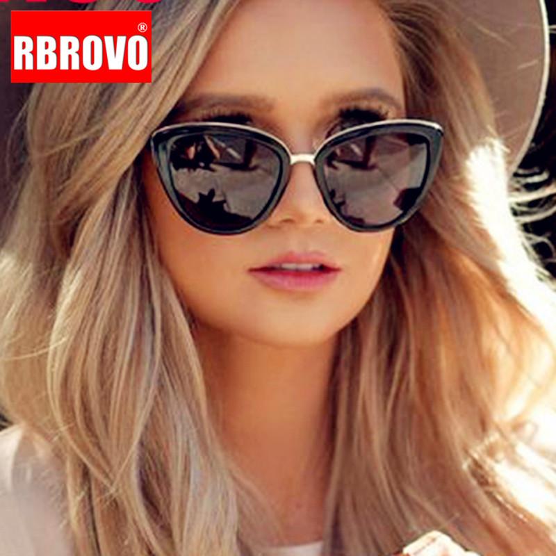 RBROVO 2021 New Oversized Sunglasses Women Cateye Retro Glasses for Women Luxury Sunglasses Women Brand Oculos De Sol Feminino
