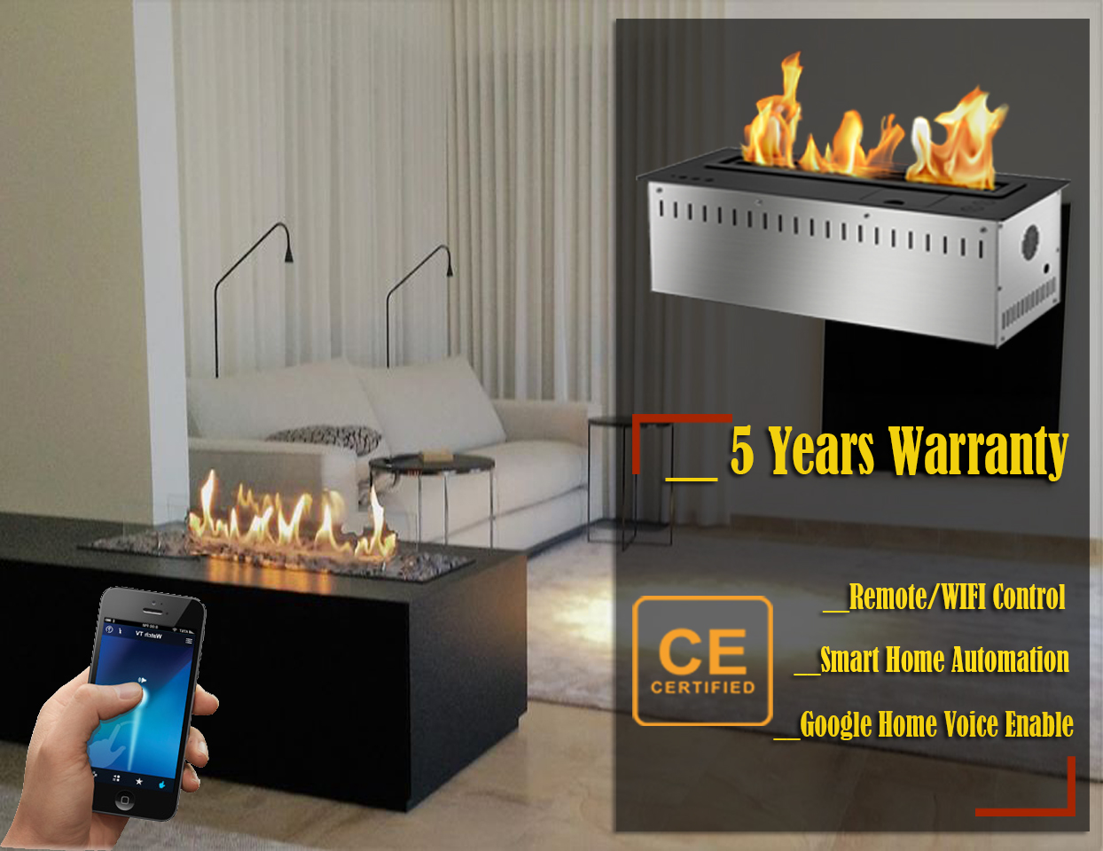 Hot Sale 48 Inches Smokeless Fire Pit Indoor Wifi Control Bioethanol Fires