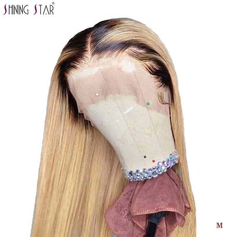 Shiningstar Ombre 1B 27 miel blond 13*4 dentelle avant perruques brésilienne droite perruques de cheveux humains pour les femmes pré plumées 150 Remy perruque