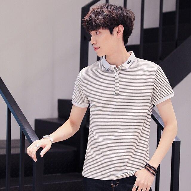 BROWON Summer 2020 T-Shirt Mens New Short Sleeve Striped Tshirt Casual Embroidery Slim Lapel T Shirt Men's Clothing