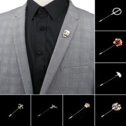 Men's Advanced Chic Brooches Mask Leaf Fower Pin Suit Shawl Lapel Pins Uxedo Corsage Hat Shirt Collar Pin Party Daily Accessory