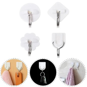 1/10pcs Self Adhesive Wall Hooks New Family Hat Bag Robe Key Hanging Hook Multi-purpose Seamless Hats Clothes Hanger Hot Sale image
