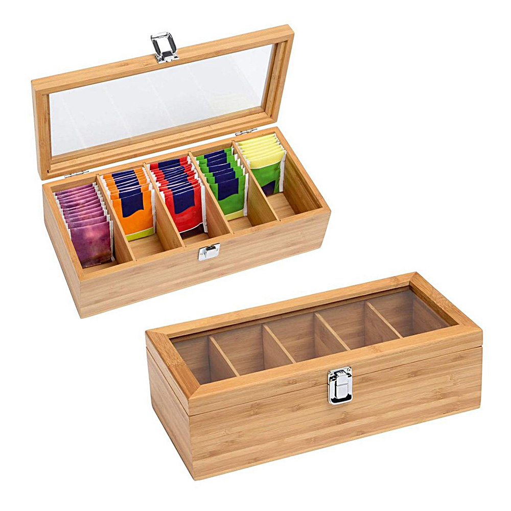 5 Compartments Bamboo Tea Box Coffee Tea Bag Storage Holder Organizer For Kitchen Cabinets Home Tea Bag Case Jewelry Holders