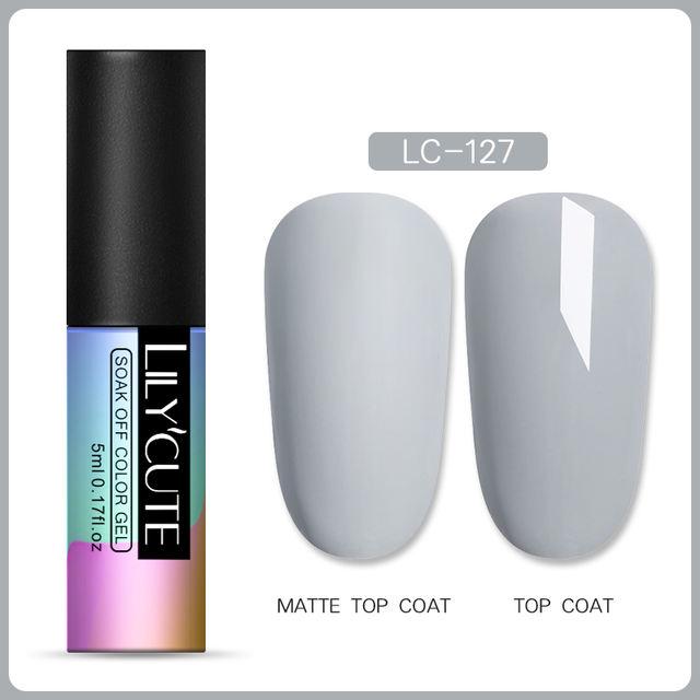 LILYCUTE Pink Grey Matte UV Nail Gel