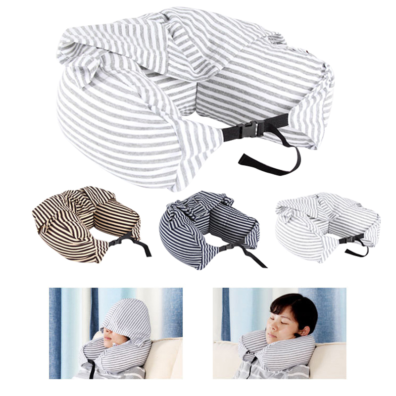 Body Neck Pillow Solid Grey Nap Cotton Particle Pillow Soft Hooded U-pillow Textile Home Airplane Car Travel Pillow Accessories image
