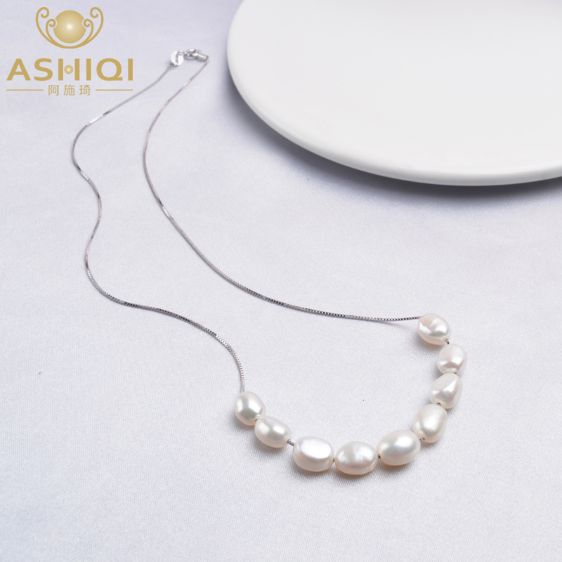 ASHIQI Real 925 Sterling Silver Necklace Chain 6-7mm Natural Baroque Pearl Pendant Jewelry For Women Gift