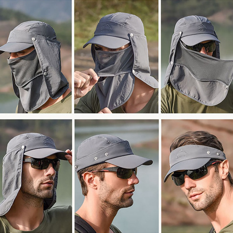 Outdoor Visor Breathable Hat 360 Degree UV Protection Face Neck Cover Fishing Sun Protect Cap Flap Hat Wide Brim Buckle
