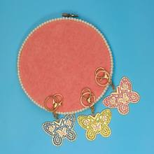 3pcs/Set Full Drill Diamond Painting Key Chain Bag Pendant for Art Craft Key Ring Phone Charm Bag Decor,Beautiful butterfly(China)