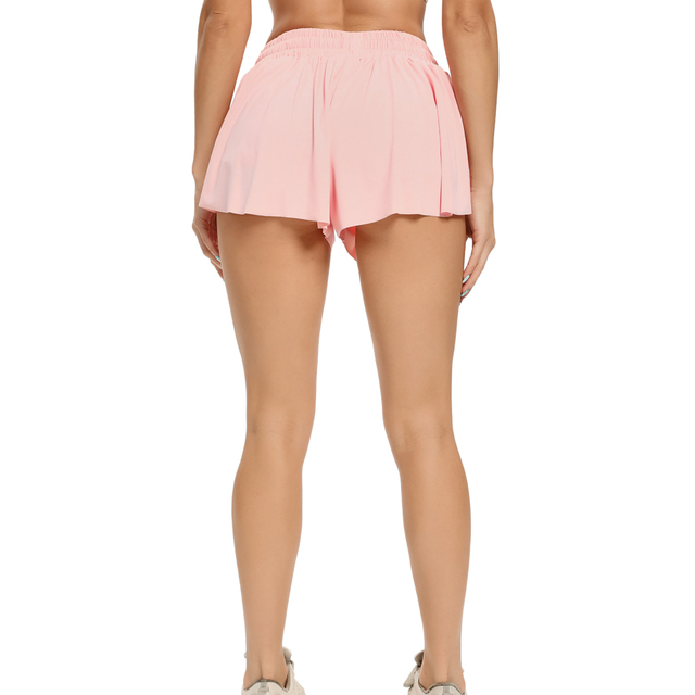 Women's High Waist Stretch Athletic Workout  Active Fitness Volleyball Shorts 2 in 1 Running Double Layer Sports Shorts 2