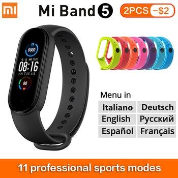 Xiaomi Mi Band 5 Smart Bracelet 1.1 AMOLED Screen Miband 5 Smartband Fitness Tracker Bluetooth 5.0 Sport Waterproof Smart Band