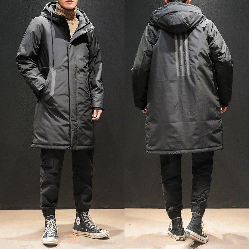 Winter New Mid Long Down Jacket Men's Fashion Brand Sports Three Bar Hooded Fat Big Knee Coat M To 6XL