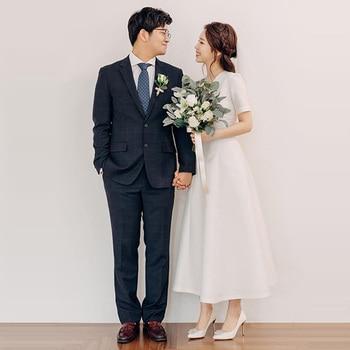 Skyyue Solid White Wedding Dresses FR297 A-Line Ankle-Length Formal Wedding Gowns V-Neck Short Sleeve Elegant Vestido De Noiva