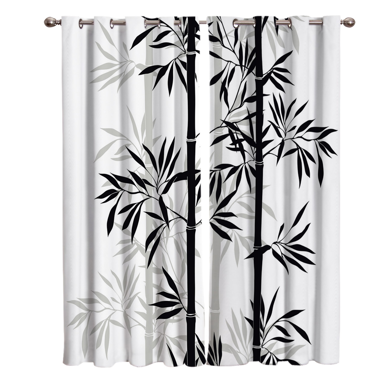 US $12.99 38% OFF|Black White Bamboo Chinese Style Ink Leaf Plant Window  Treatments Curtains Valance Curtain Rod Curtains Kitchen Drapes Indoor-in  ...