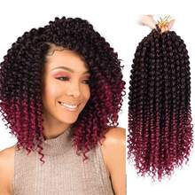 Curly Crochet Braiding Hair Extensions Ombre Red Curly Senegal Braids High Temperature Kanekalon Synthetic Hair Smart Braid Hair(China)