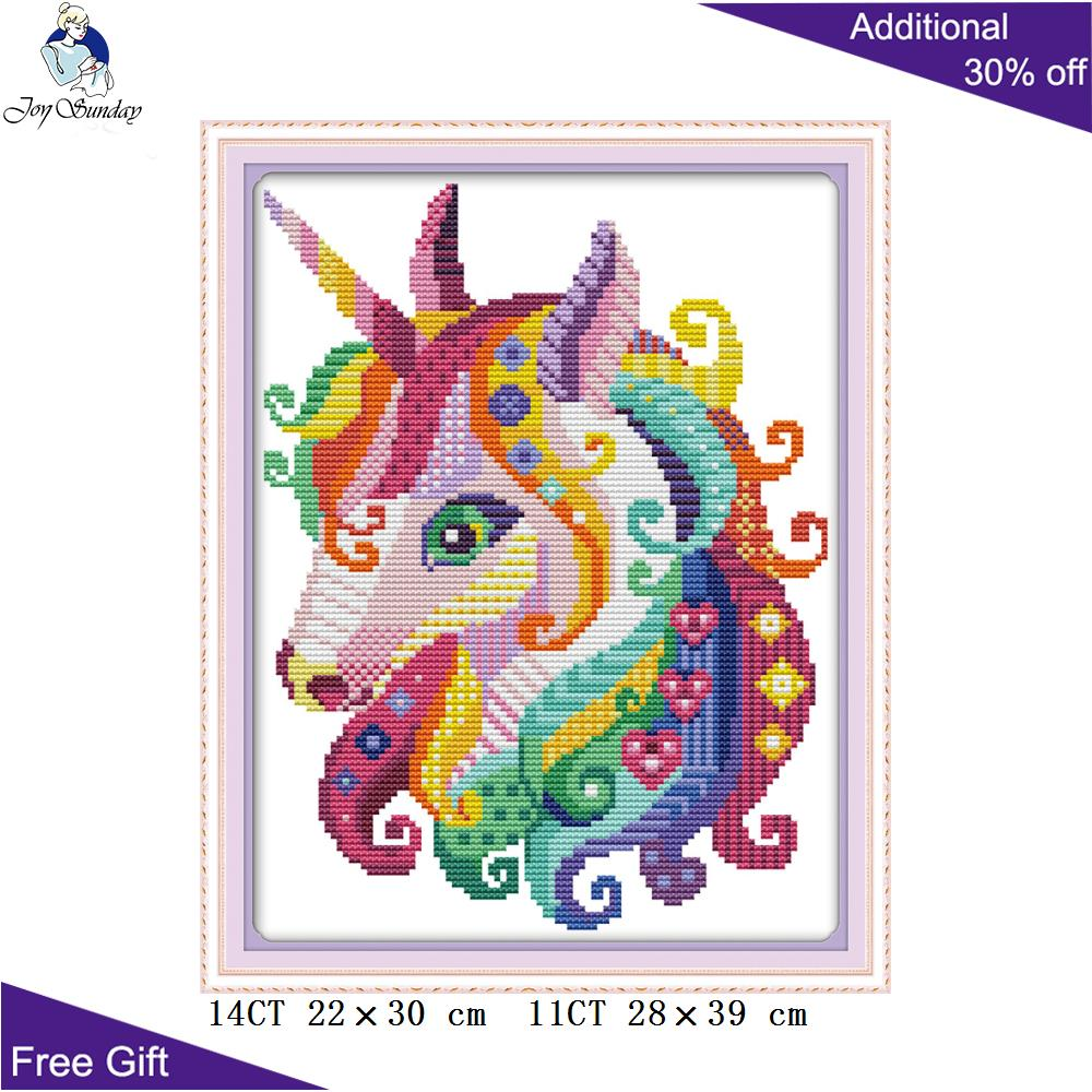 Joy Sunday DA172 14CT 11CT Counted And Stamped Home Decor Unicorn Needlework Needlepoint Embroidery DIY Cross Stitch Kits