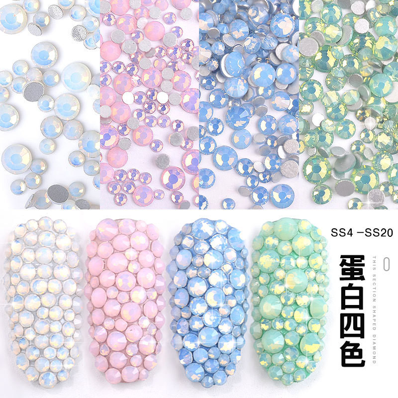 Multi-size Glass Nail Rhinestones For Nails Art Decorations Crystals   Charms Partition Mixed Size AB Rhinestone Set