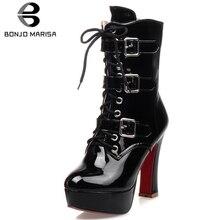 BONJOMARISA New Big Size 32-43 Patent PU Platform Booties Ladies Black Ankle Motorcycle Boots Women 2019 High Heels Shoes Woman