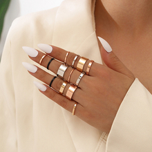 13 Pcs/Set  Punk Rings Set Women Simple Smooth Gold Color Silver Color Ring Girl Cute Finger Knuckle Ring Party Jewelry