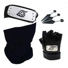 Naruto-guantes de Cosplay de Kakashi, diadema con máscara, accesorios de Anime, Kunai, Notebook, konogakurenosato, cartel utilería