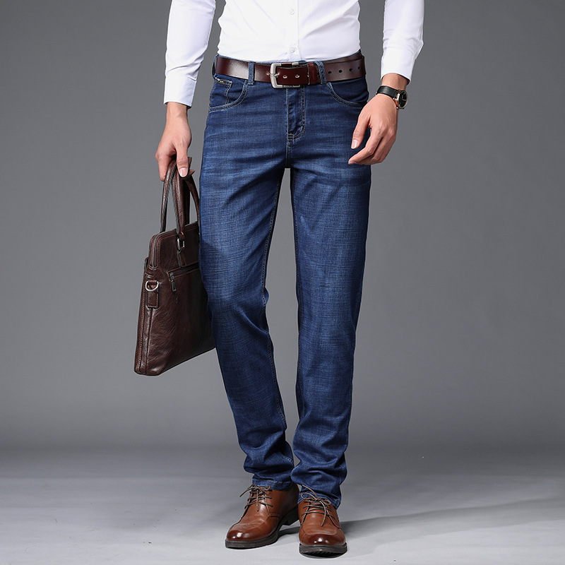 Spring And Autumn New Style Men's Business High-waisted Large Size Men Stretch Denim Trousers Thin