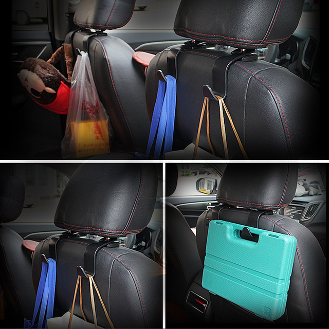 1/2Pcs Universal Car Seat Back Hook Car Accessories Interior Portable Hanger Holder Storage for Car Bag Purse Cloth Decoration 3