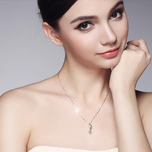 Fashion Pendant Necklace for Women Simple Sexy Round S925 Sterling Silver Lady Classic Holiday Gift