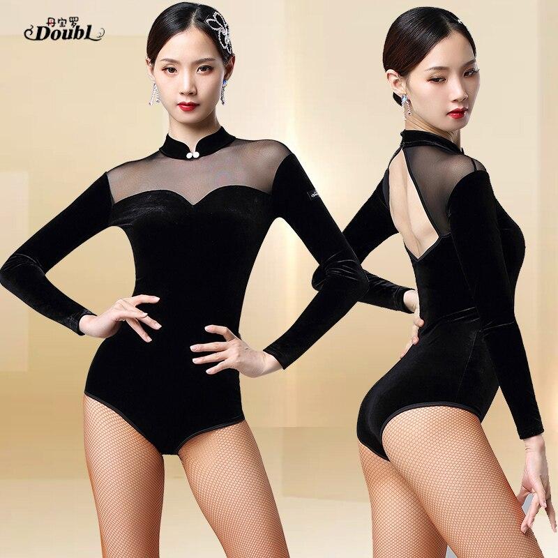 DOUBL Body Training Women's Dress Jumpsuits Set Velvet Dance Martial Arts Dress Dance Gymnastics Etiquette Black Competition