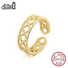 Effie queen регулируемый палец кольцо 925 пробы Серебряное кольцо с AAA циркон элегантное кольцо для украшения на свадьбу, годовщину подарок BR163