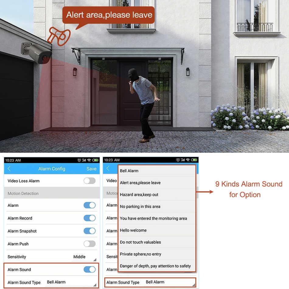 Kit de NVR Poe Techage H.265 4CH 5MP, sistema de CCTV, alarma de Audio bidireccional, sonido, cámara IP AI, conjunto de vigilancia de seguridad de vídeo de exterior IR