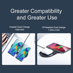 Image 3 - Baseus 2 in 1 Qi Wireless Charger For iPhone 11 Pro X XS XR Samsung S10 S9 Phone for Airpods Pro 15W Fast Wireless Charging Pad
