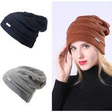 Warm Hat Women Plus Velvet Knitted Wool Cap Men Knit Winter Earmuffs Letter Mark Windshield Pleated Beanie