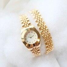 Luksusowy zegarek damski zegarek kwarcowy dwa kółka z długim paskiem Retro zegarek damski złoty zegarek Relogio Reloj Mujer